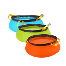 new l outdoor camping folding nylon water washbasin portable wash basin bag quick dry picnic