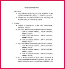 Literature Review Outline Apa Literature Review Template Sop Examples