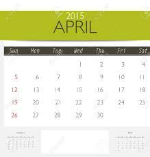 Template Monthly Calendar 2015 2015 Calendar Monthly Calendar Template For April Vector Illustration