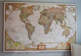 ... Poster Decals World Map Wall Art Framed Photograph Large Size Family  Bedroom Stickers Wonderful Arranged Displayed ...