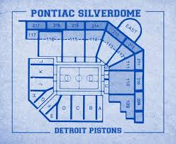 Vintage Print Of Pontiac Silverdome Seating Chart On Premium Photo Luster Paper Heavy Matte Paper Or Stretched Canvas Free Shipping