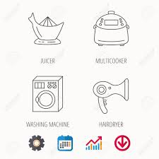 Washing Machine Multicooker And Hair Dryer Icons Washing Machine