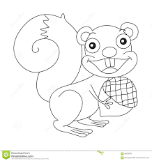 Small Picture Animal Outline For Squirrel And Nut Stock Vector Image 90639383