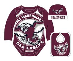 details about manly sea eagles nrl suit hat bib gift pack 2018 size 0