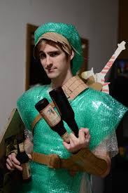 i made a bubble wrap cardboard link outfit for a diy costume party