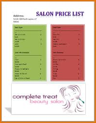 Salon Menu Templates Microsoft Word Beauty Salon Price List ...