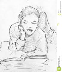 child reading a book pencil sketch stock ilration ilration of drawing children