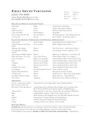 Sample Musical Theatre Resumes Music Resume For College Acting