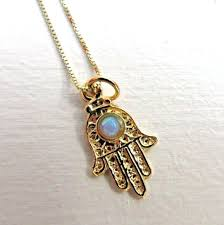 details about 14k gold hamsa necklace opal hamsa charm good luck necklace lucky pendant solid