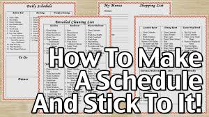 plan daily schedule how to make a schedule and stick to it youtube