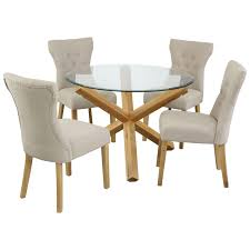 oak glass round dining table and chair set with 4 fabric