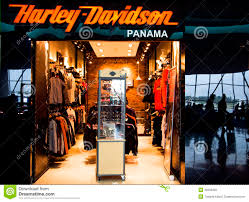 harley davidson shop in airport of panama city editorial image