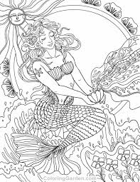 Small Picture Free printable Art Nouveau mermaid adult coloring page Download