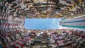 wide angle view busy design office. Hong Kong. 4K City Timelapse. Timelapse Video Of Kong From Day To Night Wide Angle View Busy Design Office