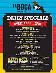 specials menu daily specials menu daily specials la boca daily special meals