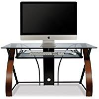 glass home office desk. Bell\u0027O CD8841 Curved Wood, Metal And Glass Computer Desk Home Office I