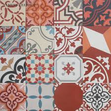 red cement tile patchwork red