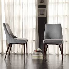 room chairs sasha mid century grey fabric upholstered tapered leg dining chairs set of 2