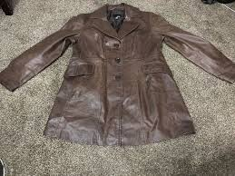 details about a n a new approach jacket womens sz large brown waist soft leather zipper front