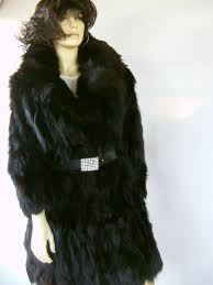 real london black fox fur coat