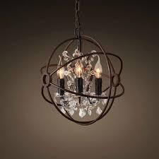 3 light iron built rust vintage globe chandelier dk 5014 d3