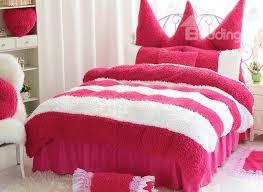 super soft white and red color block 4 piece velvet duvet cover set beddinginn com