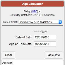 Date Of Birth Age Chart Age Calculator