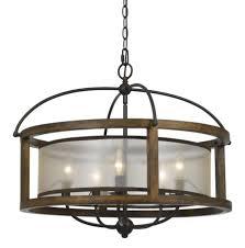 cal lighting fx 3536 5 round 5 light chandelier in dark bronze with organza shade