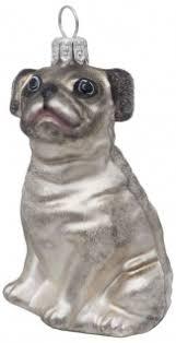 Mops Hund Silber Grau Christbaumschmuck Weihnachten