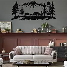 metal wall art metal bison decor tree