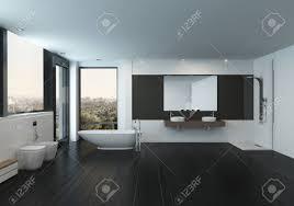 bathroom minimalist design. Modern Spacious Black And White Bathroom Interior With A Minimalist Design Bidets, Freestanding M