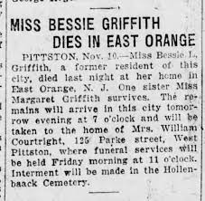 Bessie Lorraine Griffin, former resident of Pitts died at her home in East  Orange, NJ 9 Nov 1926 - Newspapers.com