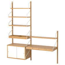 SVALNS wall-mounted storage combination, bamboo, white Width: 59