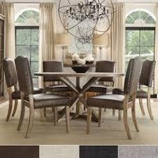 1600 benchwright rustic x base round pine wood nailhead 7 piece dining set