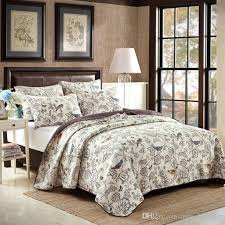 2018 birds embroidery cotton quilting quilts beige fl quilt luxury bedding sets patchwork quilts ab side printed bedspread bedcover king size from