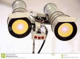 Telescopic Eyes Robot With Yellow Light Stock Photo Image