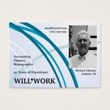 WILL WORK Mini Resume Blue Business Cards