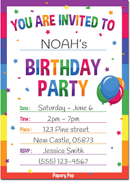 Birthday Invatations Birthday Invitations With Envelopes 15 Pack Kids Birthday Party Invitations For Boys Or Girls Rainbow