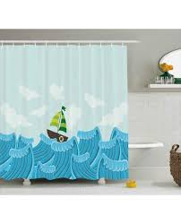 ocean shower curtain sailing boat on the sea print for bathroomwaterproof and fabric for kids