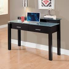 furniture rectangle black wooden desk with double drawer and white glass top also four legs