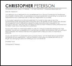 Care Coordinator Cover Letter Clinical Coordinator Cover Letter Sample Cover Letter