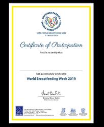 World Breastfeeding Week 2019 Certificate Of Participation