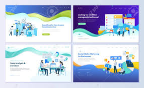 Social Media Design Templates Set Of Web Page Design Templates For Data Analysis Management