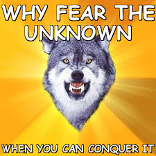 Why fear the unknown when you can conquer it (Courage Wolf) | Meme ... via Relatably.com