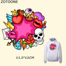 <b>ZOTOONE Happy</b> Skull Patch Lip Heart Flower Patch 11.2*12CM ...