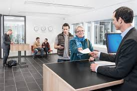 banking finance communications cashier line at bank