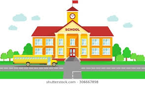 school building clipart. Exellent School Classical School Building And Bus Isolated On White Background And School Building Clipart