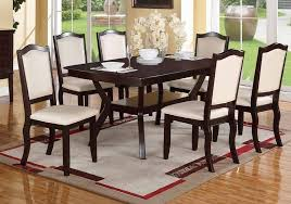 get ations 1perfectchoice modern rectangular wood 7 pieces dining set table and chairs espresso cream