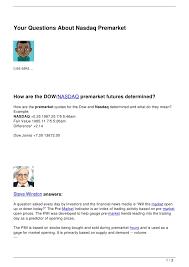 Premarket Quotes New Your Questions About Nasdaq Premarket