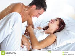 Lovely Couple In Bed Lying In Bedroom Couple Lying Bed Laughing Stock Photos Images Pictures 742